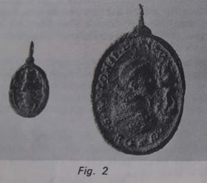 Portuguese gilded bronze medallion.