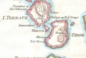 Ternate e Tidore, Molucche (1760), Indonesia. Author Bellin. No Copyright