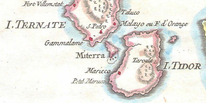 Ternate y Tidore, Molucas (1760), Indonesia. Author Bellin. No Copyright