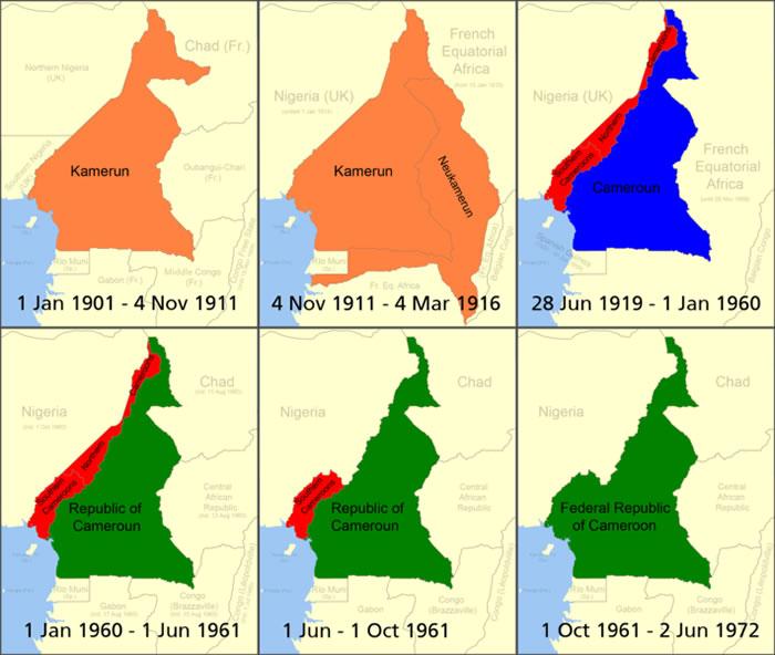 Le Cameroun de 1901 jusqu'à 1972. Auteur Roke. Licence Creative Commons Paternité – Partage des conditions initiales à l'identique