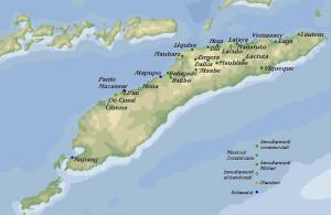 Mappa degli insediamenti portoghesi e dei centri occupati dagli inglesi a Timor all'inizio del XIX secolo