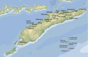 Karte der portugiesischen und niederländischen Niederlassungen auf Timor am Anfang des 19. Jahrhunderts