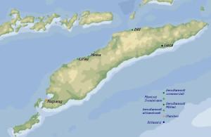 Mappa degli insediamenti portoghesi e olandesi a Timor nel 1660c. e della missione gesuitica a Luca