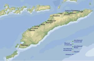 Karte der portugiesischen und niederländischen Niederlassungen auf Timor im 18. Jahrhundert