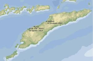 Mappa di Timor indicante il luogo del primo sbarco portoghese e dove giunse la nave Victoria della spedizione di Magellano