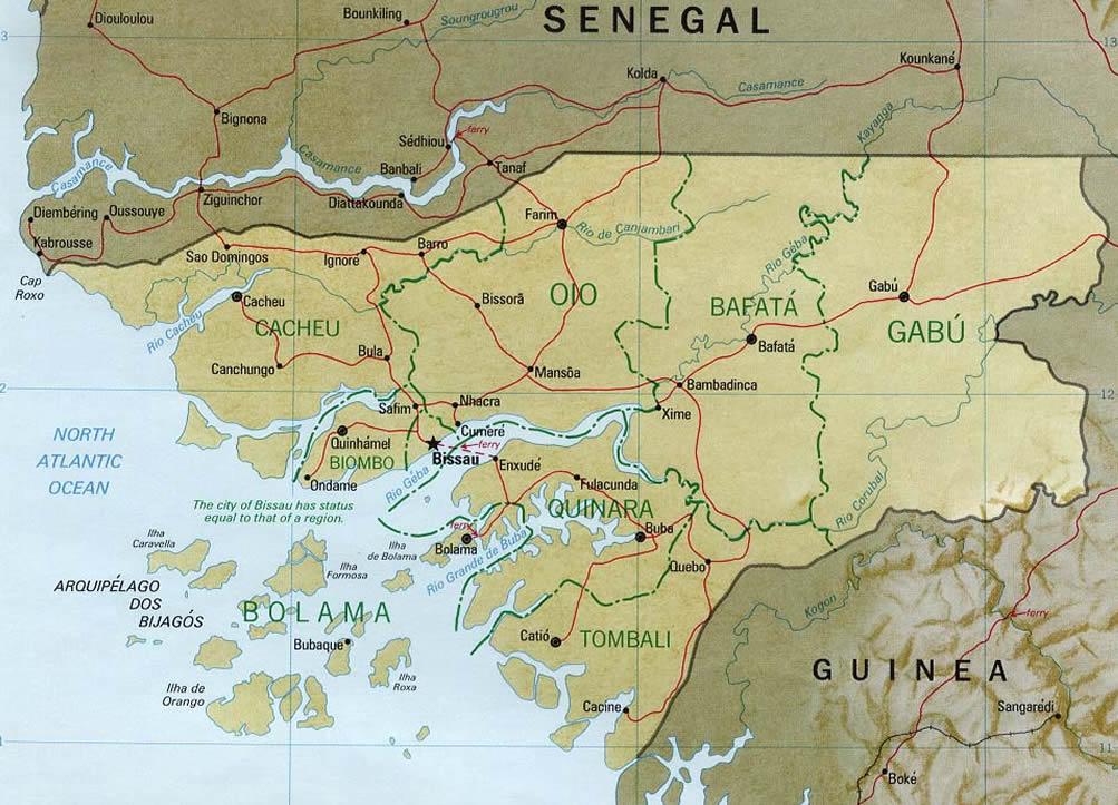 Straßenkarte von Guinea-Bissau. U.S. Central Intelligence Agency. No Copyright