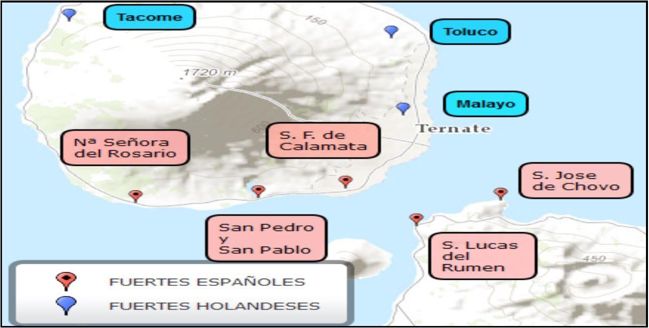 Mapa. Fuertes en Ternate y el norte de Tidore