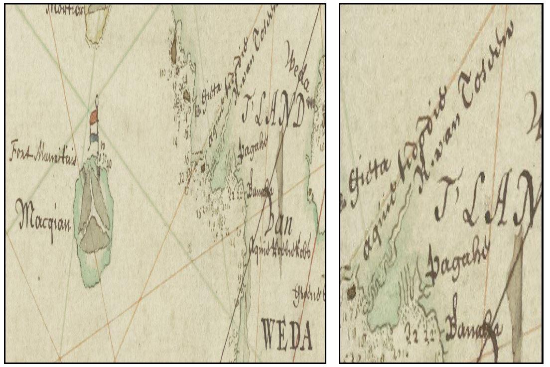 Detalle de mapa, Kaart van de Ternataansche Eilanden, Ternate, Tidor, Halmaheira of Batachina, Macquian, Batchan, enz. Titel in catalogus Leupe (Nationaal Archief) Anonimo, 1711