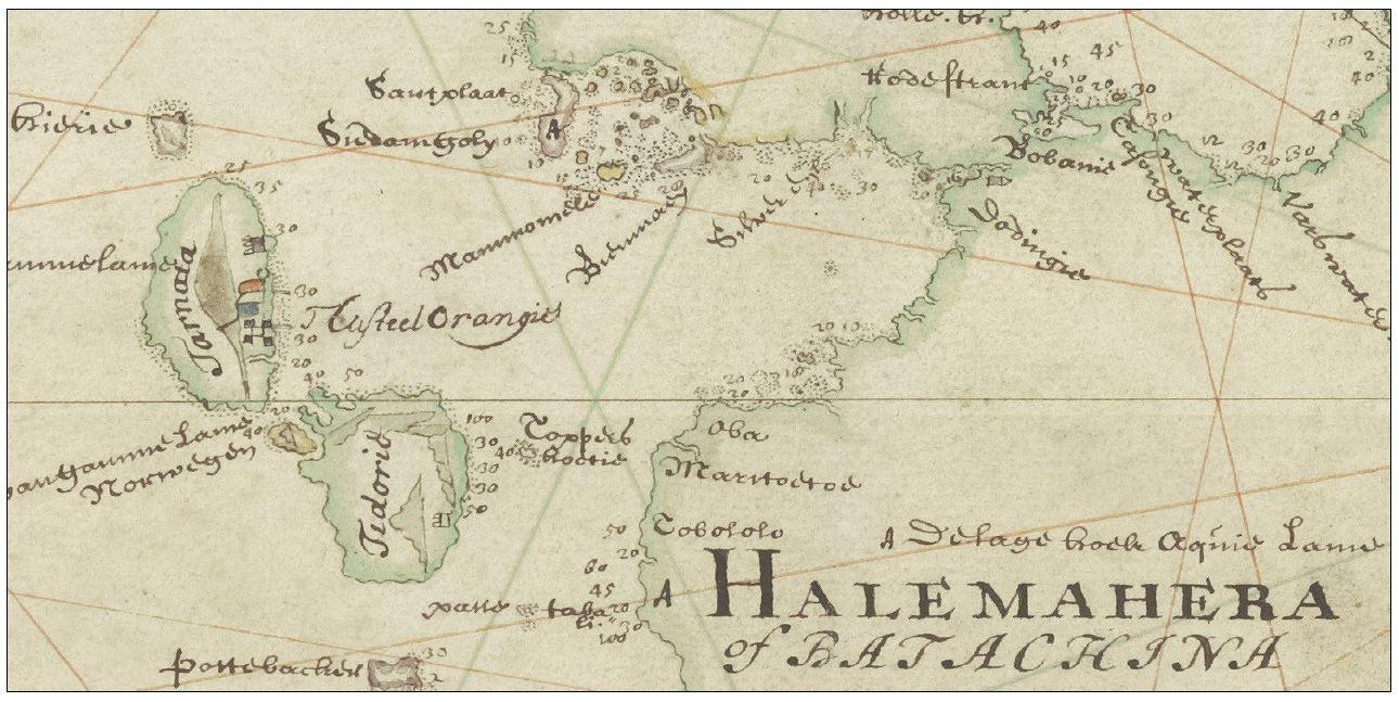 Detalle de mapa, Kaart van de Ternataansche Eilanden, Ternate, Tidor, Halmaheira of Batachina, Macquian, Batchan,enz. Titel in catalogus Leupe (Nationaal Archief) Anónimo, 1711.