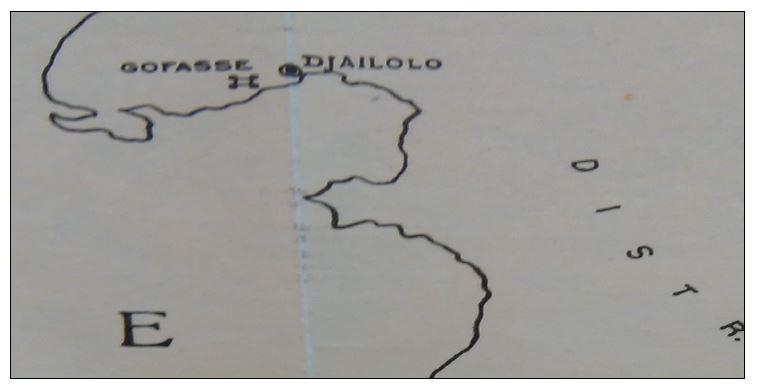 Detalle de mapa publicado por Ivo Van de Waal en el que se aprecia la ubicación del fuerte de Dofasa (Gofasse).