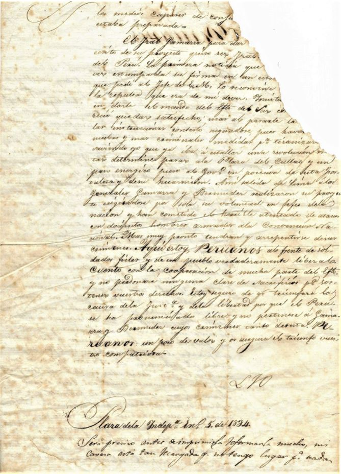 BACKSIDE OR ORIGINAL LETTER FROM J.L. ORBEGOSO TO CITIZENS OF PERU 1830'S