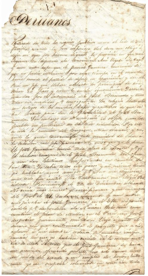 Letter from Luis Jose de Orbegoso to Peruvian People 1834