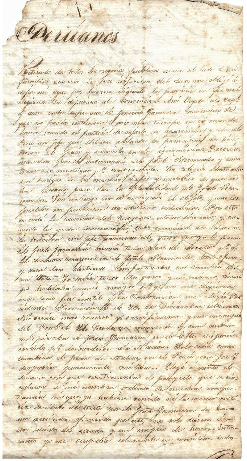 Letter from Luis Jose de Orbegoso to Peruvian People 1834