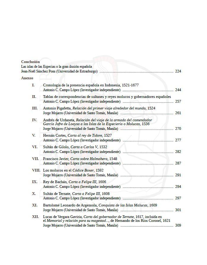 En el Archipiélago de la Especiería. España y Molucas en los siglos XVI y XVII. Index 2