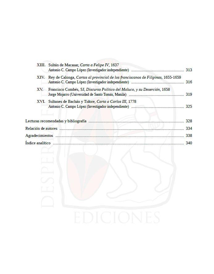 En el Archipiélago de la Especiería. España y Molucas en los siglos XVI y XVII. Index 3