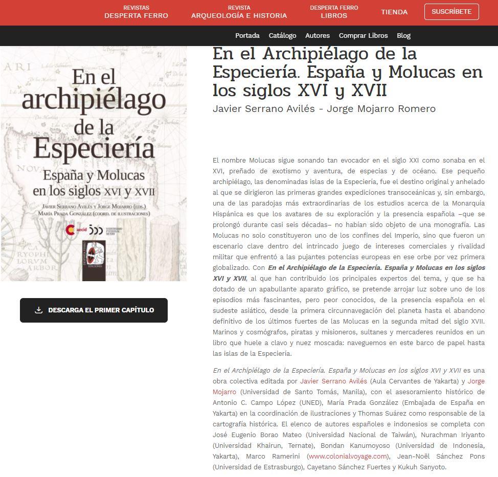 En el Archipiélago de la Especiería. España y Molucas en los siglos XVI y XVII.