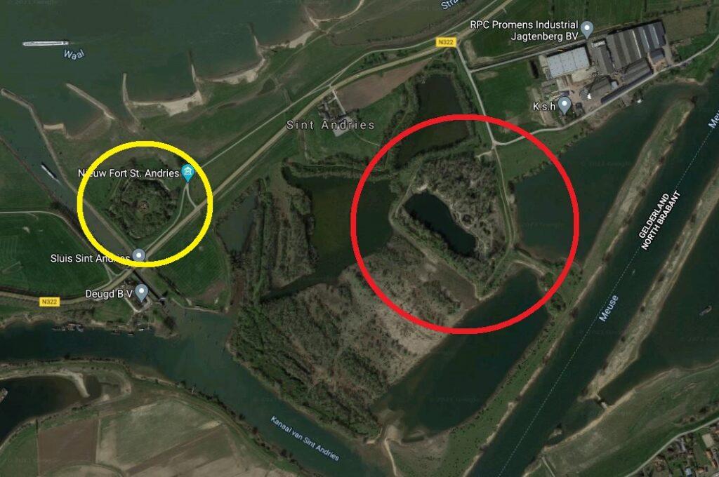 Cerchiato di rosso il forte spagnolo di San Andres. In giallo il più recente forte del 1810 (Nieuw Fort St. Andries). Da Google Maps.