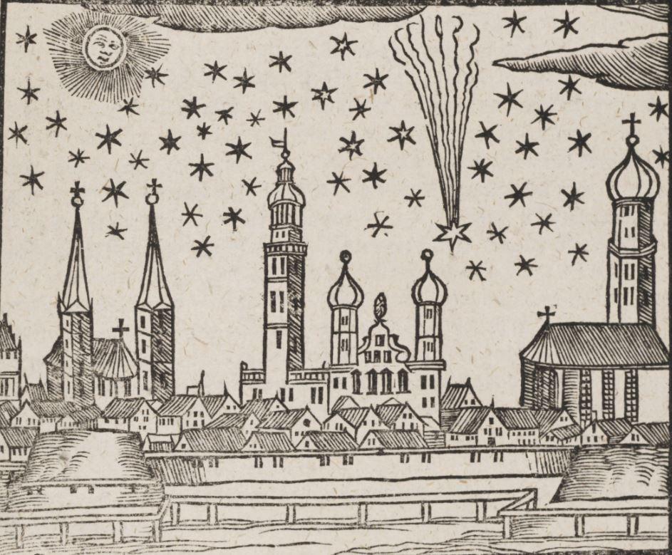 La grande cometa del 1618 nel cielo di Augsburg.