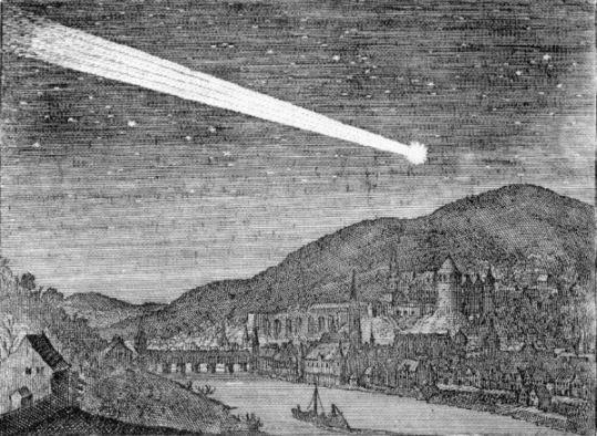 La grande cometa del 1618 nel cielo di Heidelberg.