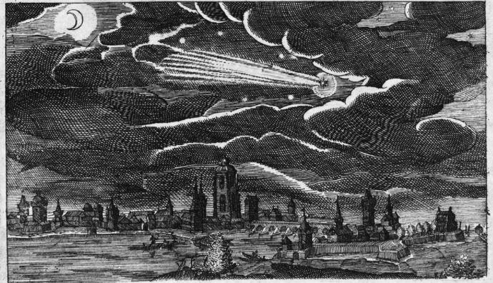 La grande cometa del 1618 nel cielo di Francoforte sul Meno.