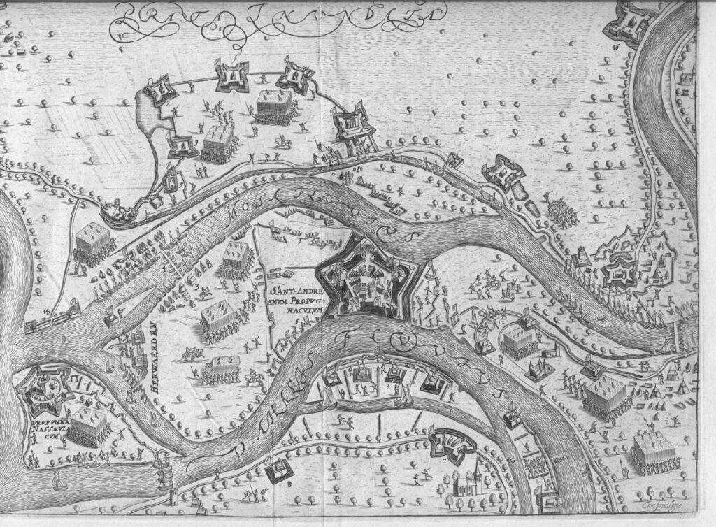 L'assedio del Forte San Andres nel 1600. In una stampa di Baudartius del 1651